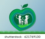 paper art carving of family and ... | Shutterstock .eps vector #621769130