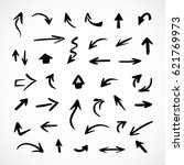 hand drawn arrows  vector set | Shutterstock .eps vector #621769973