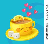 funny food characters a cup of... | Shutterstock .eps vector #621771716