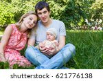 young family with little... | Shutterstock . vector #621776138