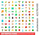 100 tropics icons set in... | Shutterstock .eps vector #621781430