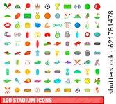 100 stadium icons set in... | Shutterstock .eps vector #621781478