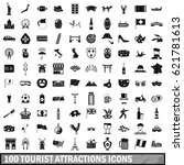 100 tourist attractions icons... | Shutterstock .eps vector #621781613