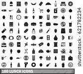 100 lunch icons set in simple... | Shutterstock .eps vector #621782234