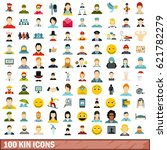 100 kin icons set in flat style ...   Shutterstock .eps vector #621782279