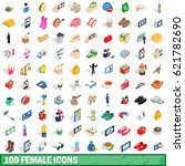 100 female icons set in... | Shutterstock .eps vector #621782690