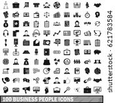 100 business people icons set... | Shutterstock .eps vector #621783584