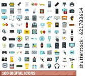 100 digital icons set in flat... | Shutterstock .eps vector #621783614