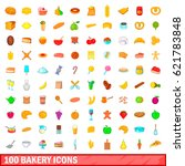 100 bakery icons set in cartoon ... | Shutterstock .eps vector #621783848