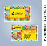 yellow modern business card... | Shutterstock .eps vector #621786764