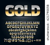 vector set of golden alphabet... | Shutterstock .eps vector #621790058