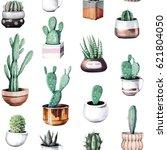 cactus seamless pattern | Shutterstock . vector #621804050