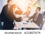 business conference with... | Shutterstock . vector #621807674