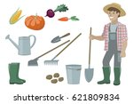 farm garden inventory set items ... | Shutterstock .eps vector #621809834