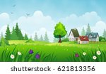 Cozy Houses On A Meadow. Summer ...