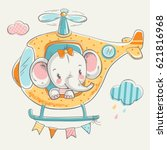 cute elephant on a helicopter... | Shutterstock .eps vector #621816968
