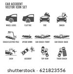 car accident vector icon... | Shutterstock .eps vector #621823556