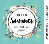 summer sale round background... | Shutterstock .eps vector #621827324