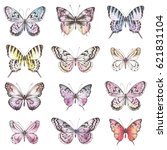 Stock vector collection of hand drawn silhouette butterflies with watercolor texture vector illustration in 621831104