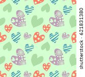 seamless pattern with hearts.... | Shutterstock . vector #621831380