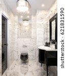 modern art deco bathroom... | Shutterstock . vector #621831590