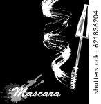 mascara eyeliner and brush... | Shutterstock .eps vector #621836204