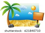 summer scene with beach and... | Shutterstock .eps vector #621840710