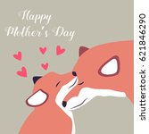 lovely postcard with two foxes... | Shutterstock .eps vector #621846290