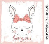 cute bunny girl with bow.... | Shutterstock .eps vector #621847658