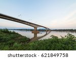 cloud and sky with long bridge. | Shutterstock . vector #621849758