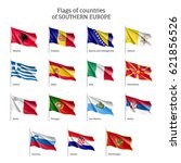set of waving flags of european ... | Shutterstock .eps vector #621856526