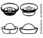 set of the sailors hat. design... | Shutterstock .eps vector #621856946