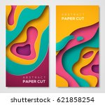 vertical banners with 3d... | Shutterstock .eps vector #621858254