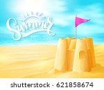 vector hand lettering summer... | Shutterstock .eps vector #621858674