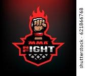 night fight. mixed martial arts ... | Shutterstock .eps vector #621866768