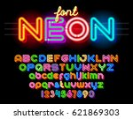 neon light alphabet vector font.... | Shutterstock .eps vector #621869303
