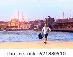 european tourist on the... | Shutterstock . vector #621880910