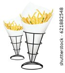 Small photo of French fries isolated