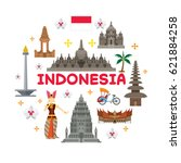 indonesia travel attraction... | Shutterstock .eps vector #621884258