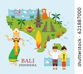 bali  indonesia map with travel ... | Shutterstock .eps vector #621887000