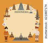 indonesia landmarks  people in... | Shutterstock .eps vector #621887174