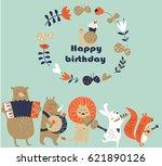 Birthday Card With Cute Animals ...
