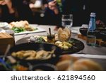 a plate of cheese in a... | Shutterstock . vector #621894560