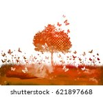 watercolor nature tree and... | Shutterstock .eps vector #621897668
