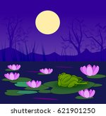 a frog resting on a lily leaf... | Shutterstock . vector #621901250