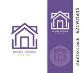 Stock vector house logo design template flat simple 621901613