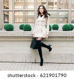 fashionable brunette girl with... | Shutterstock . vector #621901790