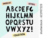 paper cutout letters. black...   Shutterstock .eps vector #621907223
