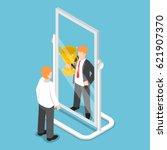 flat 3d isometric businessman... | Shutterstock .eps vector #621907370