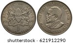 Small photo of Kenya Kenyan 1 one shilling 1969, arms, two lions holding lances and African shield, bust of first President of Kenya Jomo Kenyatta